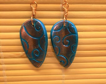 Simple Leaf Dangle Earrings Teal and Copper - Handmade Clay and Wire Boho Jewelry for Women Gift Present for Wife Mom Girlfriend Friend