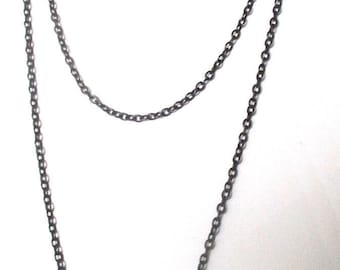 Victorian 50-Inch Gunmetal Chain With Four (4) Round Purple Paste Stations