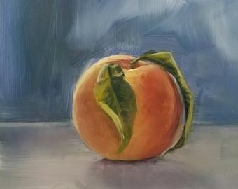 """A Peach  6"""" x 6"""" Oil on Panel"""