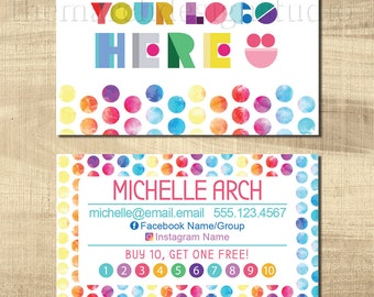 Customized Dot Dot Smile Business Card - Printable Digital - Personalized - Two Sided - Polka Dot - Rainbow - Colorful - Buy 10 Get 1 Free
