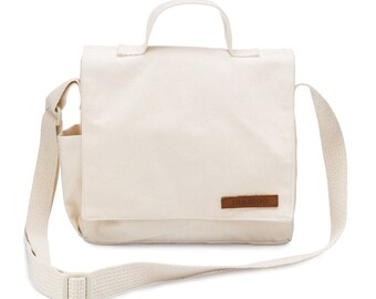 Natural Canvas Kids Crossbody Bag, Small Hip Bag, Sling Crossbody Bag, Mini Messenger Purse, Fabric Crossbody Bag, Satchel Bag