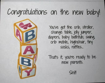 Funny New Baby Card, Funny New Parent Card - FREE SHIPPING to US and Canada