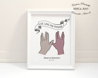Star Trek Wedding Unique Gift for Couple Custom Illustration Print Digital File Vulcan Salute Trekkie Geek DIY Home Wall Decor Digital Print