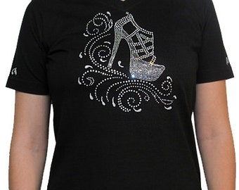 Rhinestone Shoe Unique Custom Women's Cute Fun Glitter Cool Embroidery  Bling V-neck T shirt Cindy's Handmade Shirts Boutique