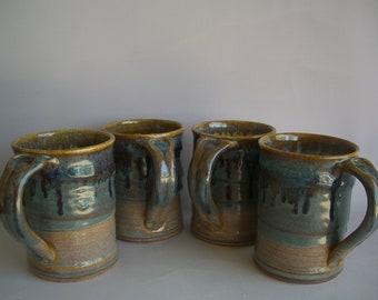 Hand thrown stoneware pottery mugs set of 4  (M-61)