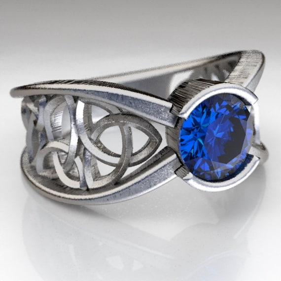 Celtic Sapphire Engagement Ring With Trinity Knot Design in Sterling Silver, Made in Your Size CR-1026