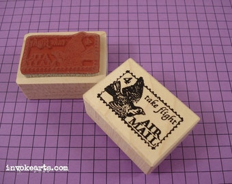 Take Flight Post Stamp / Postoid / Invoke Arts Collage Rubber Stamps