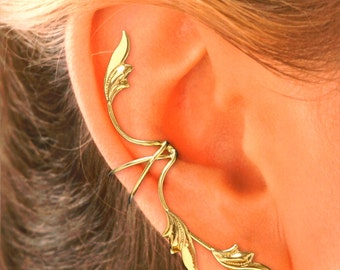 Full Ear, 3 Leaf Ear Cuff Earring in Gold or Rhodium Over Sterling Silver