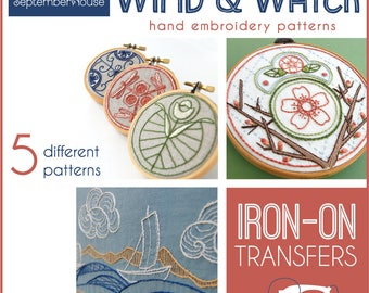Embroidery Patterns Wind & Water Iron On transfers for hand embroidery, Japanese Inspired hand embroidery patterns, Modern embroidery