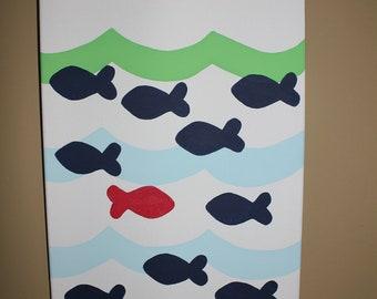 Fish Hand painted Canvas Nautical Nursery to match Jackson Bedding