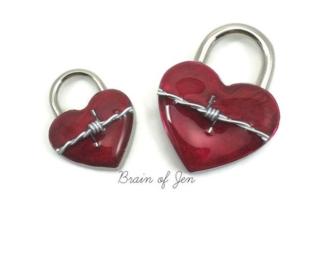 Red Working Padlock with Real Barbed Wire You Choose Size