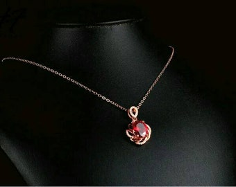 Gold Flower Sharped Oval Red CZ Cubic Zir Necklace