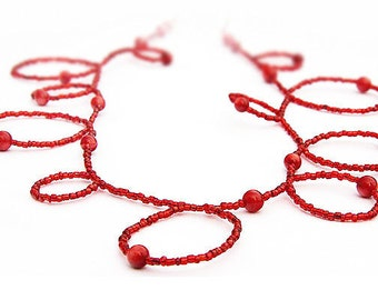 Thin red Handmade Bubble Necklace Red Coral and Seed Bead Necklace Wear it Long or Doubled or as 4 Wrap Bracelet  mens custom necklace