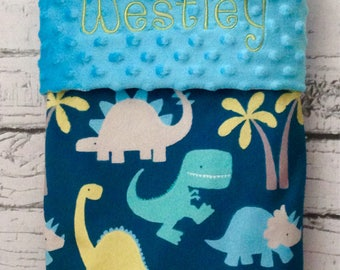 Personalized Dinosaur Minky Blanket, Designer Minky Baby Blanket, Dinosaur Baby Blanket