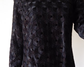 1980s Gorgeous William Pearson Black Evening Top Blouse Sheer Size 8