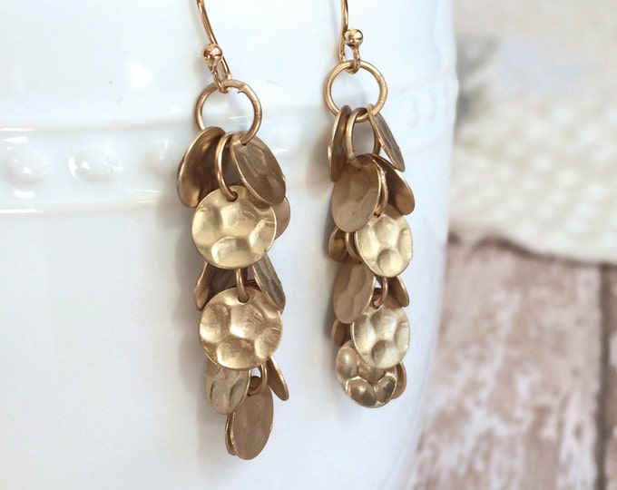 Matte Gold Sequin Earrings--Rhodium and Shiny Gold also Available