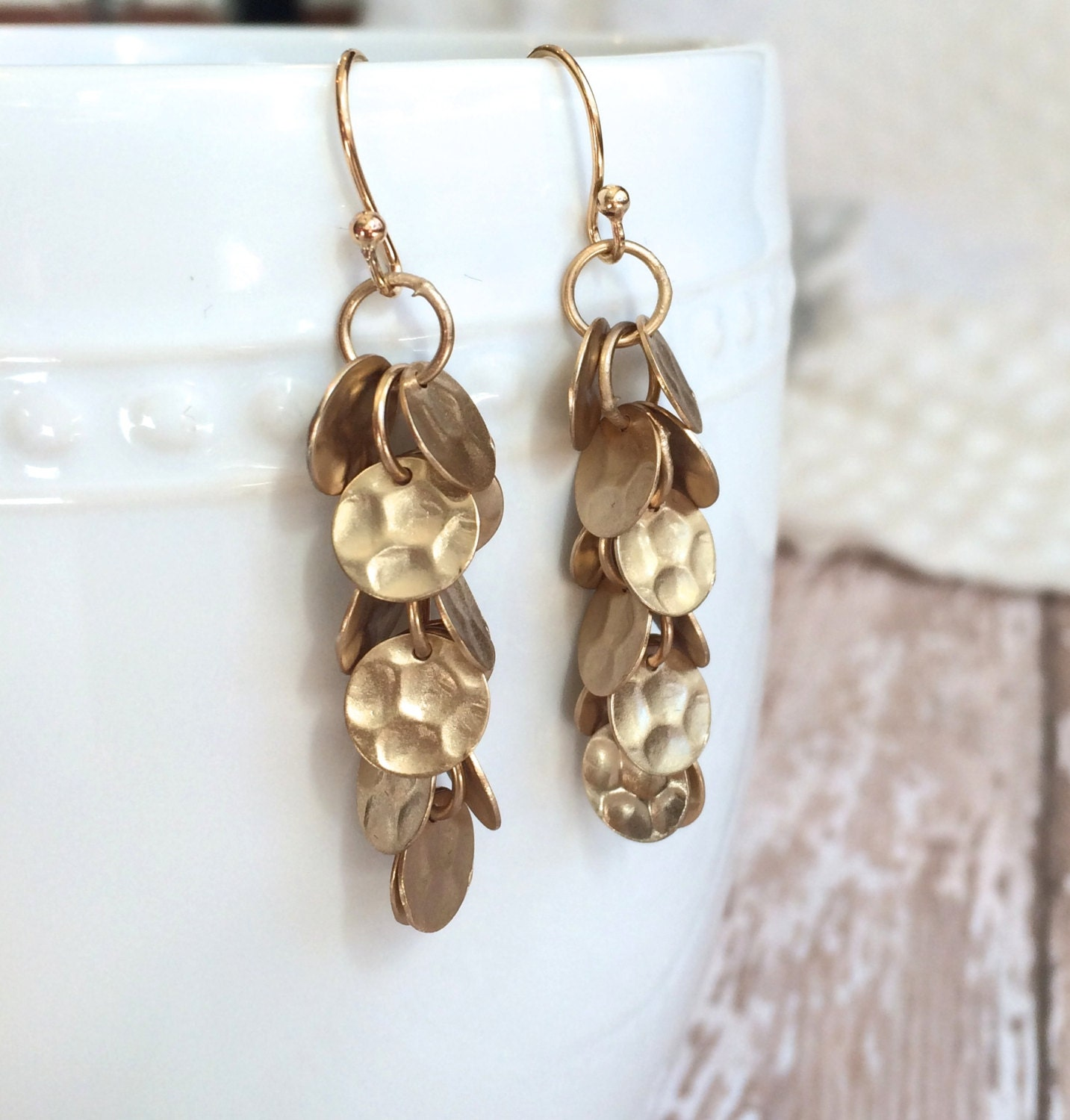earrings handmade gold matte pin hoops