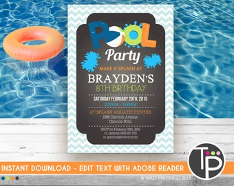 BOY POOL PARTY Invitation, Instant Download Pool Party Invitation, Boy Pool Party Invitation, Pool Party, Edit yourself with Adobe Reader
