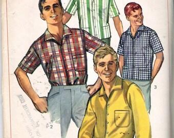 "Vintage 1965 Simplicity 6283 Men's Sport Shirt or Shirt Jacket Sewing Pattern Neck Size 15 Chest 38"""