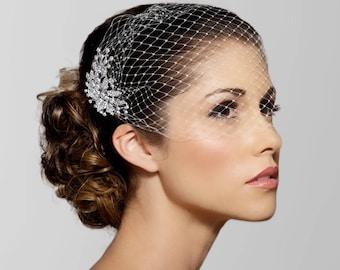 Birdcage Veil, Bridal Veil, Bridal Comb, Bandeau Birdcage Veil, Blusher Bird Cage Veil, Detachable Rhinestone Hair Comb, crystal veil
