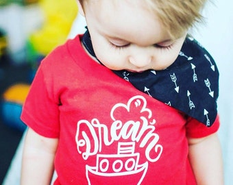 DREAM BOAT - Red & White Kid's Graphic Tee Shirt - Size 2 2t - Hand drawn Lettering - Dear Seed - DearSeed - Sailor - Tug Boat -