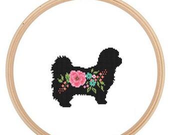 Shih Tzu Silhouette Cross Stitch Pattern Floral roses Pet animal wall art Dog cross stitch modern trendy great gift