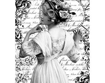 Romantic woman rice paper