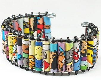 Paper Bead Jewelry- Upcycled Looney Tunes Comic Book Cuff Bracelet, Comic Book Jewelry, Geek Gift, Paper jewelry by Tanith Rohe
