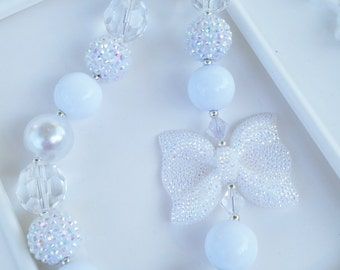 White Sparkle Bow necklace