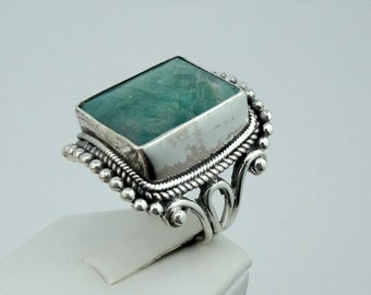 Unique Faceted Green Quartz Sterling Silver Ring #FACGRN-SR2