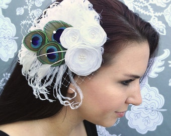 White Feather and Flower Hair Clip - Made to order
