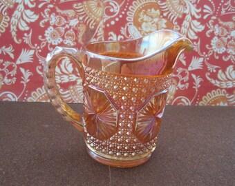 """Vintage marigold carnival glass pitcher 5"""""""