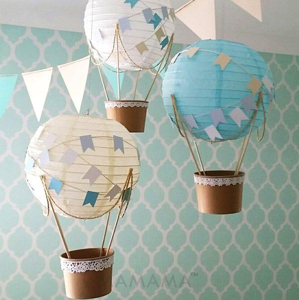 Whimsical hot air balloon decoration diy kit baby blue