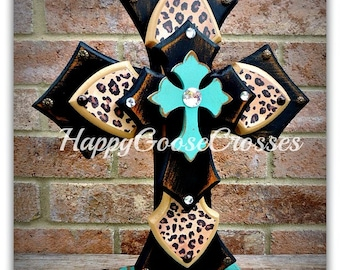 Wood Cross - Large Standing Cross - Antiqued Black and Turquoise, with Leopard/Cheetah print