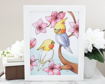 Cockatiel in Flowers -  Print 8.5x11 or 4x6 inches - Featuring Cute Yellow and Gray Cockatiel Pet Birds in Love with Pink Sakura Flowers Art