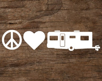 Peace, Love & Camping Travel Trailer Window Decal