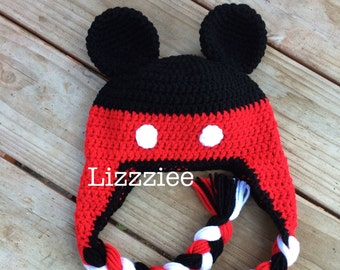 PDF Mickey Mouse Crochet Hat Pattern - Instructions to make a beanie or earflap hat 6 sizes, newborn to adult - Instant Digital Download