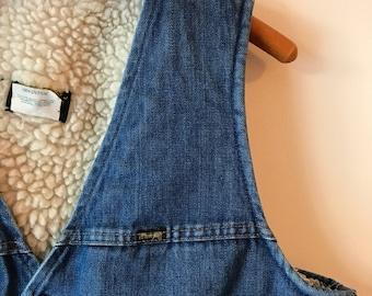 vintage Wrangler faux shearling lined denim vest