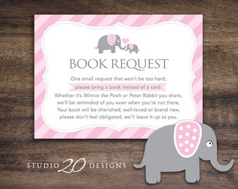 Instant Download Pink Elephant Book Request, Elephant Book in Lieu of Card, Grey Pink Elephant Baby Shower Book Instead of Card for Girl 22B