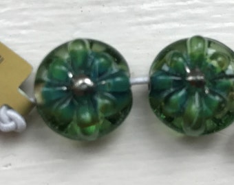 Two Handmade Lampworked  Vintage Florin Beads with 22K Gold Center - Spring Meadow (21893)