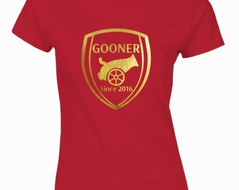 Customized Arsenal inspired Ladies fit red t-shirt Gooner since the day you born.