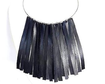 faux leather necklace, necklace black, fringed necklace, choker black