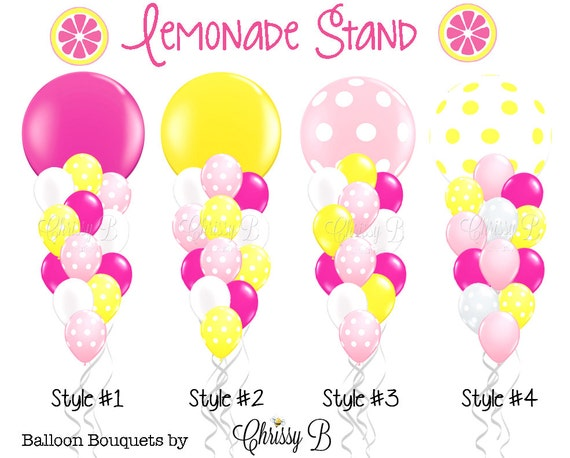 pink and yellow giant balloon bouquet pink lemonade theme giant 36 rh etsystudio com Party Balloons Clip Art Party Balloons Clip Art