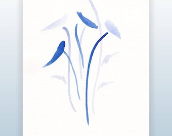 Blue watercolor art. Brush sketch. Abstract floral minimalist wall decor. Simple flowers sketch.
