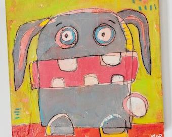 Unhinged Bunny Original Painting
