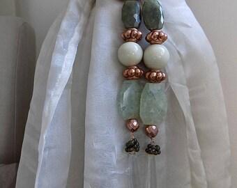 LAST PAIR Artistic pair of jade and crystal pendant drapery holders,  tie backs, curtain holders -  limited edition