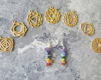 Chakra Earrings - Wire Wrapped Jewelry - Gemstone Earrings - Chakra Jewelry - Healing Crystals - Rainbow Earrings - Yoga Jewelry