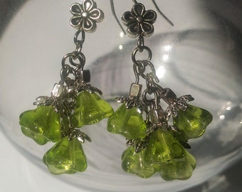 Mothers Day gift, gift for her, gift for women, lime green czech bell flowers cluster earrings
