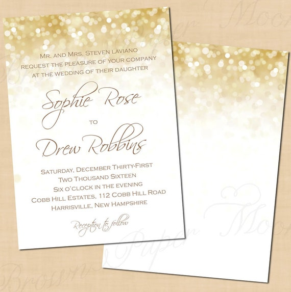 White Gold Sparkles Wedding Invitations 5x7 Portrait: