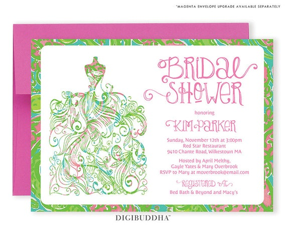Lilly Pulitzer Inspired Bridal Shower Invitation Gown Preppy